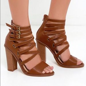 NEW Brown Leather High Heel Sandals
